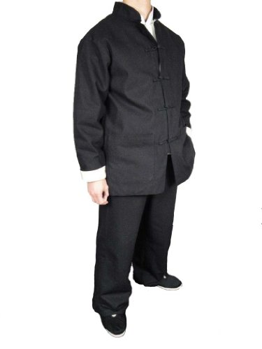 Black Premium Linen Kung Fu Martial Arts Uniform Suit L