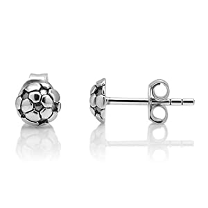 925 Oxidized Sterling Silver 2-D Tiny Football Soccer Ball Sport Post Stud Earrings 6 mm Fashion Jewelry for Women, Teens, Girls - Nickel Free by Chuvora