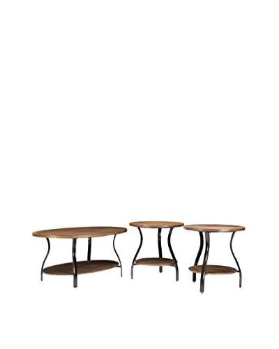 Baxton Studio Newcastle Wood & Metal 3-Piece Table Set, Brown/Antique Bronze