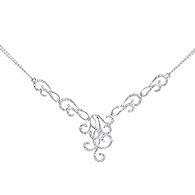 Naava 9 ct White Gold Half Carat Diamonds Twirl Necklet of 41 Cm