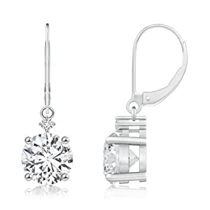 Cyber Monday and Black Friday-Prong Set 3.05 ct Round Diamond Leverback Earrings in Platinum