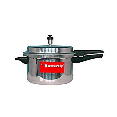 Butterfly Standard Plus Outer Lid Aluminium Pressure Cooker with Induction Base, 7.5 Litre, Silver