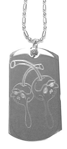 Dead Drippy Skull Cherry Cherries - Luggage Metal Chain Necklace Military Dog Tag