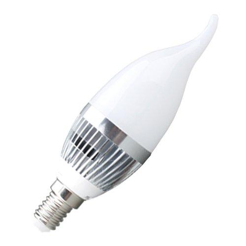 Bestwe LED Lampe Kerze Kerzenlampe Glühlampe E14 Boden (Kaltweiß, 3 W -- krumm candle bulb Silver-weiß)