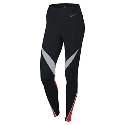 Nike Womens Dri-Fit Legendary Fabric Twist Veneer Training Tights 724963-451 (X-Small, Black/White/Light Crimson/Black)
