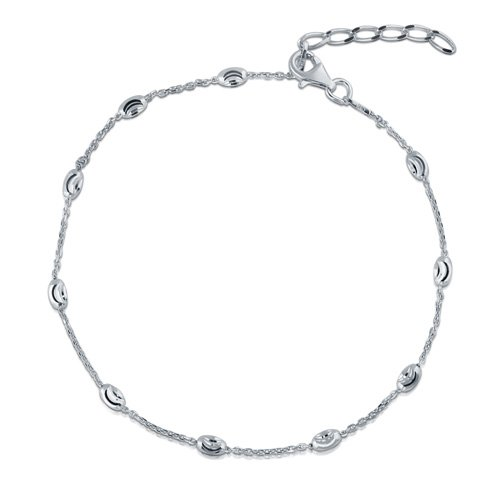 Italian Rhodium Plated 925 Silver Oval-Moon Chain Anklet 9+1
