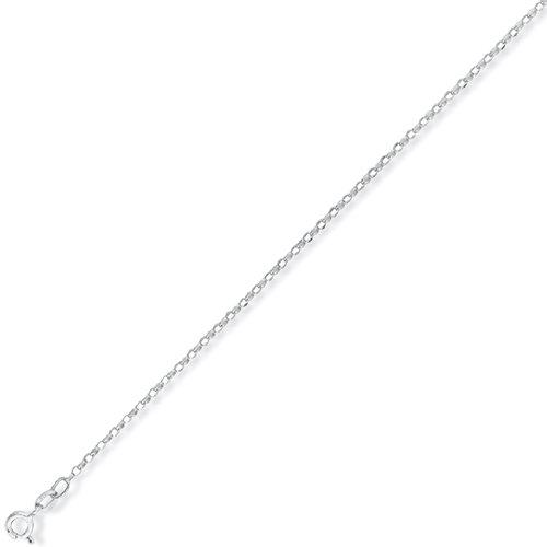 Fine 9Ct White Gold Diamond Cut Oval Belcher Chain 18 inch/1.2mm