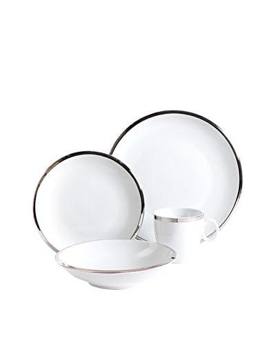 Isaac Mizrahi Skyline 16-Piece Dinnerware Set, White/Platinum