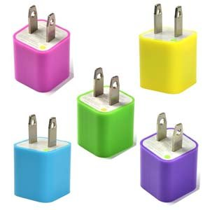 Case Star USB Wall Charger for iPod Touch,iPod Nano,iPhone 3G/3GS/4/4S - 5 Piece - Hot Pink/Green/Purple/Aqua Blue/Yellow