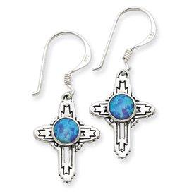 Sterling Silver Antiqued Created Opal Cross Earrings
