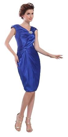 herafa p31310-2 Robes De Bal élégant Col V Sans manche Ruché Perles Délicates Au genou Gaine Bleu