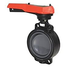 GF Piping Systems PVC Butterfly Valve, Hand Lever with Ratchet Settings, EPDM Seal, 6""