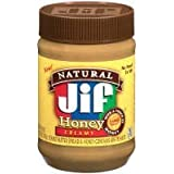 Jif, Naturual Honey Creamy Peanut Butter, 16oz Jar (Pack of 3)