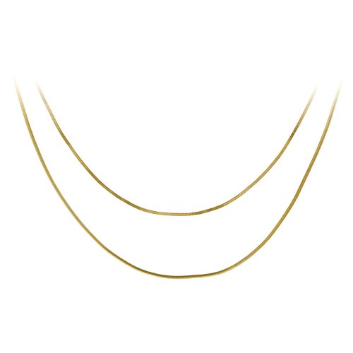 "18k Yellow Gold Plated Sterling Silver 16"" and 18"" Snake Chain Necklaces, Set of Two"