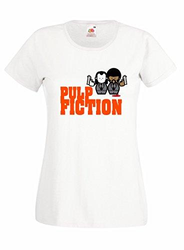 T-shirt Donna Pulp Fiction - minimal design Maglietta 100% cotone LaMAGLIERIA, S, Bianco