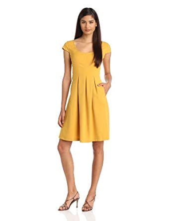Nine West Dresses Women's Mini Waffle Fit And Flare Dress, Honeycomb, 12