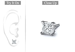 Fine Jewelry Vault SCMERPTSQ100D Mens Platinum - Princess Cut Diamond Stud Earring - 1.00 CT. TW.