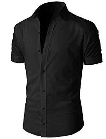 H2h Mens Casual Button Down Shirts Slim Fit Short Sleeve