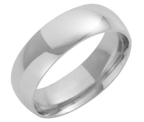 Platinum Wedding Ring, Light Court Shape, 7mm Band Width
