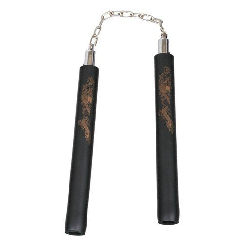 Foam Rubber Safety Training Nunchucks - All Black With Chain