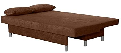 0-0-1531: modernes Schlafsofa - Schlafcouch - Farbe braun - mit Bettkasten - inkl. Kissen - Schaumstoff gepolstert