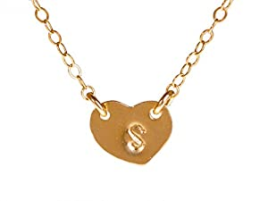 Tiny Gold Filled Heart Custom Initial Necklace, Personalized Dainty Monogram Necklace