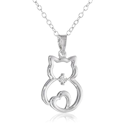 "DiAura Sterling Silver Diamond-Accented Cat Pendant Necklace, 18"": Jewelry"