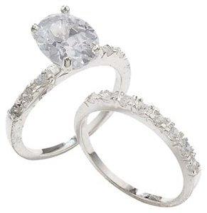 Wedding Ring Set - Sterling Silver & Diamond CZ Stones. Bridal Rings.