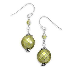 Sterling Silver 12mm Faceted Green CZech Glass Bead With 4mm Crystal Fashion French Wire Earrings
