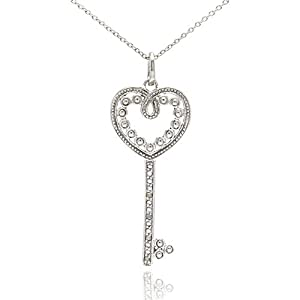 Filigree CZ Heart Key Sterling Silver Pendant Necklace