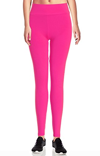 Womens Solid Color High Waist Seamless Yoga Legging Pants (US Size 2-12, Pink) (Pink Brand Yoga Pants compare prices)