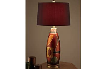 of 2 table lamps with red drum shade oval shaped base household lamp. Black Bedroom Furniture Sets. Home Design Ideas