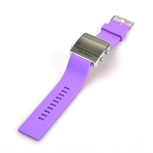 Bestdealusa Led Digital Date Jelly Silicon Casual Sport Wrist Watch Unisex Purple