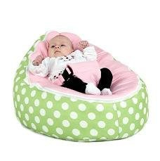 BayB Brand Bean Bag For Babies - Filled, Ready To Use - Ships in 24 Hours! (Pink/Green) by BayB Brand