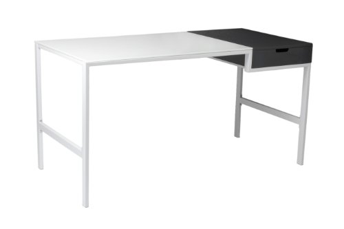 Euro Style Diva Desk with Drawer, White/Gray