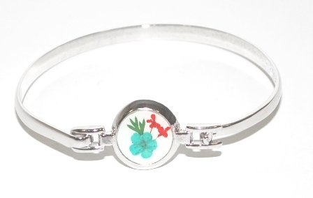 Real Pressed Flower Metal Bangle Bracelet Floral