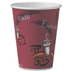 SOLO OF12BI-0041 Single-Sided Poly Paper Hot Cup, 12 oz. Capacity, Bistro (Case of 300)