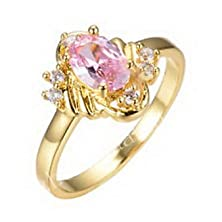 buy Pixel Jewelry 1985 - Rings Size6 Pink Sapphire Crystal Cz Women'S Promise Yellow Gold Filled Gift