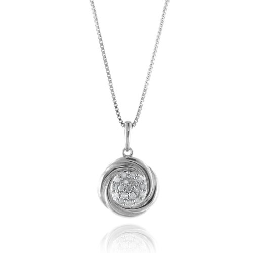 0.25ct TDW Diamond Circle Necklace/Pendant in Sterling Silver with 18