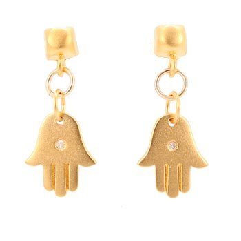 Vermeil Hamsa Hand with 1pt Diamond Gemstone Dangle Earrings on Domed Square Post, #7704