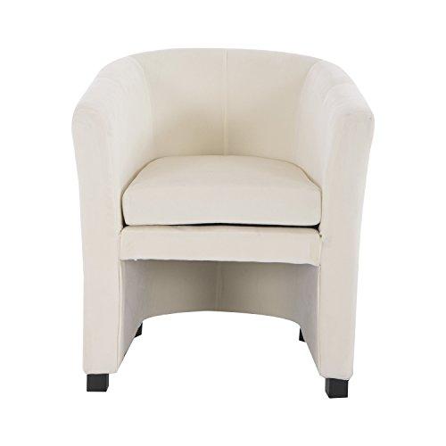 HomCom Plush Tub / Barrel Club Arm Seat Chair and Ottoman Set - Cream White