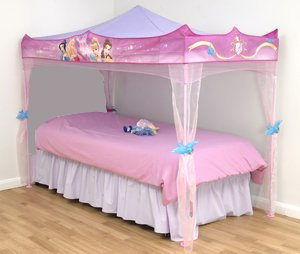 Disney Princess Bed Canopy Stands Over Single Size Bed