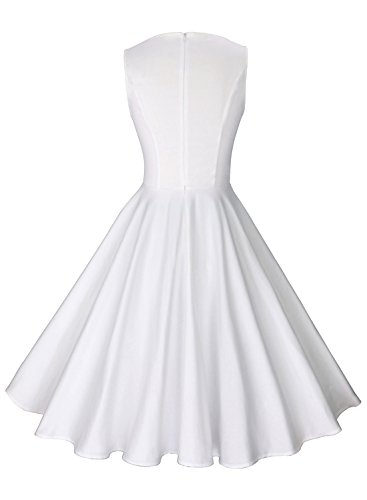 Anni Coco Women's 1950s Hepburn Vintage Swing Dresses White XX-Large