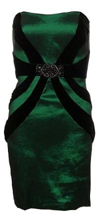 Betsy & Adam Women's Strapless Velvet Trim Taffeta Dress (10, Emerald/Black)