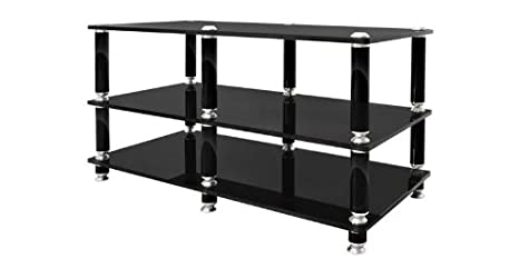 Norstone Stabbl AV Stand per Audio/Video con 3 Ripiani, Nero