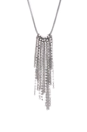 Simply Vera Wang Jet and Simulated Crystals Long Fringe Necklace