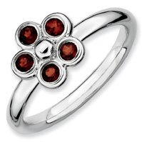 0.43ct Lovable Silver Stackable Garnet Flower Ring. Sizes 5-10 Available