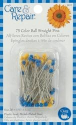 Dritz Color Ball Straight Pins Size 28 75/Pkg Blue & Yellow 9611D; 6 Items/Order
