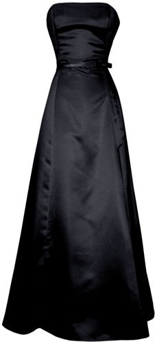 50's Strapless Satin Long Gown Bridesmaid Prom Dress Holiday Formal Junior Plus Size, Small, Black