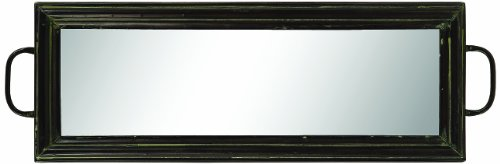 Creative Co-Op Black Metal Mirrored Tray With Handles front-908596